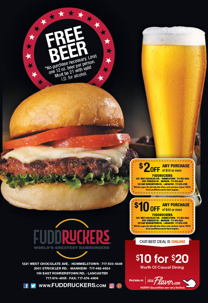 picture relating to Fuddruckers Coupons Printable named - Fuddruckers Hershey - $10 For $20 Worthy of Of