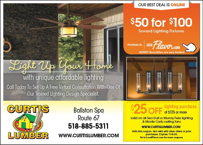 25 Off Lighting Purchase Of 125 Or More At Curtis Lumber Ballston Spa Ny