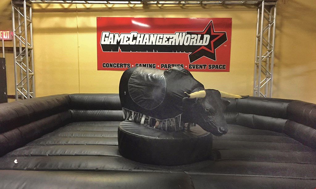 Product image for Game Changer World of PA $20 For 1 Adult Unlimited Attraction Pass For Hatchet Throwing, Mechanical Bull, Rock Wall & $10 Food Voucher (Reg. $40)