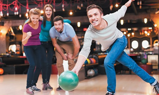 "Product image for CLASSIC LANES GREENFIELD $29.63 For 2 Games Of Bowling With Shoe Rental For 4, A 1-Topping 16"" Pizza & 1 Pitcher Of Soda (Reg. $59.25)"