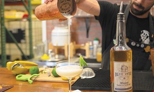 Product image for Blue Dyer Distillery & Tavern $15 For 2 Tour & 2 Single Spirit Tasting, 2 Menu Cocktails & 1 Bag of Whiskey Stick Pretzels (Reg. $31)
