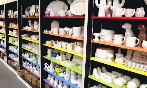 Product image for Dabble Creative Studio $12 For Pottery Painting For 2 Including All Painting Supplies & 2 Ceramic Pieces Up To $12 Value Each (Reg. $24)
