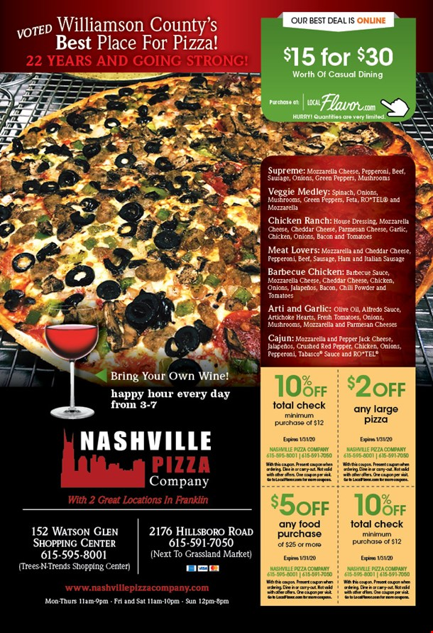 Localflavor Com Nashville Pizza Company 15 For 30 Worth Of