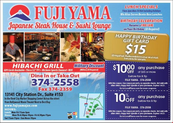 Fuji Yama Steakhouse And Sushi Lounge Coupons Deals Jacksonville Fl Shopee guarantee | free shipping | daily discover. fuji yama steakhouse and sushi lounge