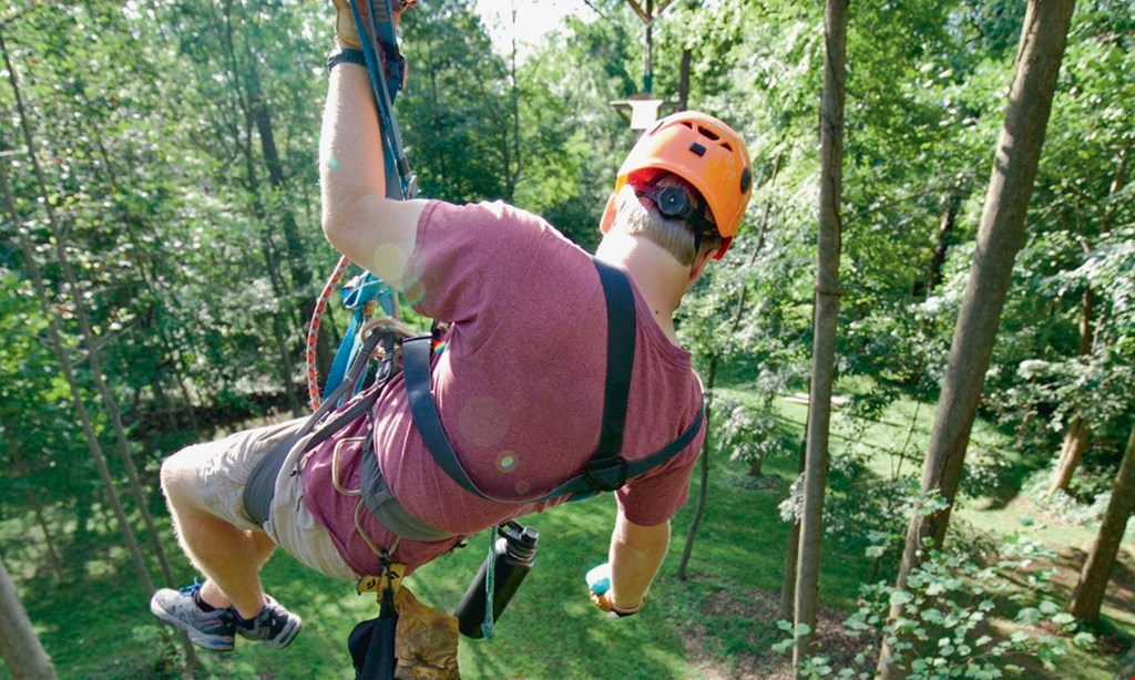 Product image for Refreshing Mountain $196 For A Weekday Outdoor Fall Fun Package - Includes 2 Ziplines, Cornhole & 22 Elevated Obstacles For up To 8 People (Valid Through Nov. 15, 2020) (Reg. $392)