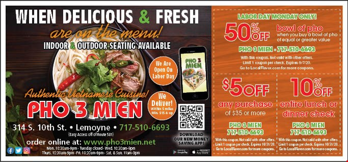 Pho 3 Mien Coupons Deals Lemoyne Pa