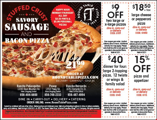 Round Table Pizza Coupons Deals San Diego Ca
