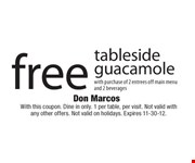 With this coupon. Dine in only. 1 per table, per visit. Not valid with any other offers. Not valid on holidays. Expires 11-30-12.