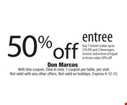 With this coupon. Dine in only. 1 coupon per table, per visit. Not valid with any other offers. Not valid on holidays. Expires 4-12-13.