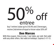 With this coupon. Dine in only. 1 per table, per visit. Not valid with any other offers. Not valid on holidays. Expires 5-17-13.