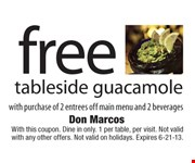 With this coupon. Dine in only. 1 per table, per visit. Not valid with any other offers. Not valid on holidays. Expires 6-21-13.