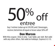 With this coupon. Dine in only. 1 per table, per visit. Not valid with any other offers. Not valid on holidays. Expires 8-2-13.
