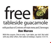 With this coupon. Dine in only. 1 per table, per visit. Not valid with any other offers. Not valid on holidays. Expires 1/31/14.