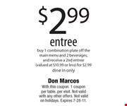 With this coupon. 1 coupon per table, per visit. Not valid with any other offers. Not valid on holidays. Expires 7-28-11.
