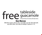 With this coupon. Dine in only. 1 per table, per visit. Not valid with any other offers. Not valid on holidays. Expires 6-1-12.