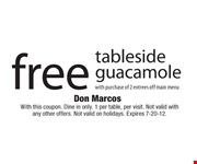 With this coupon. Dine in only. 1 per table, per visit. Not valid with any other offers. Not valid on holidays. Expires 7-20-12.