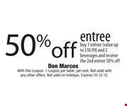 With this coupon. 1 coupon per table, per visit. Not valid with any other offers. Not valid on holidays. Expires 10-12-12.