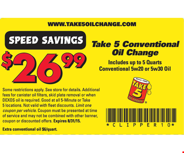 $26.99 Take 5 Conventional Oil Change
