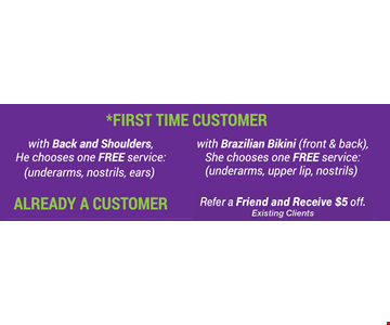 first time customers chooses one free service