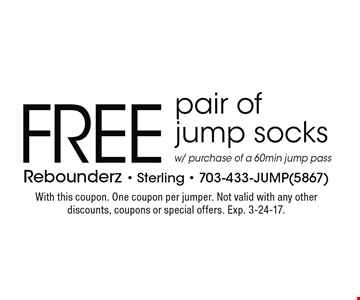 FREE pair of jump socks w/ purchase of a 60min jump pass. With this coupon. One coupon per jumper. Not valid with any other discounts, coupons or special offers. Exp. 3-24-17.