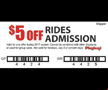 $5 off rides admission.