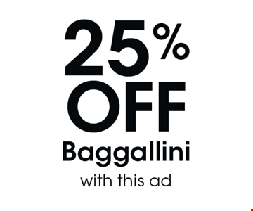 25% OFF Baggallini with this ad.