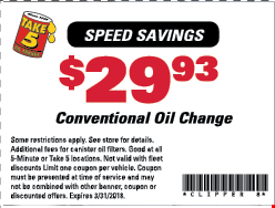 $29.93 a conventional oil change