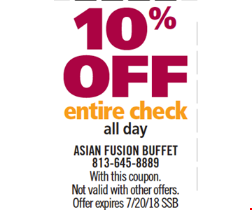 10% Off Entire Check. All day. with this coupon. Not vaild with other offers. Offer expires 7/20/18. SSB