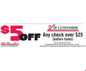 VIP Customer $5 Off Any Check over $25 (before taxes). Dine in only (No exceptions). Not valid during lunch hours. One coupon per customer/per table. Valid Sunday thru Thursday only. Not valid with other offers or discounts. Expires 7/18/18.