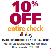 10% Off Entire Check. All day. With this coupon. Not valid with other offers. Offer expires 8/17/18. SSB