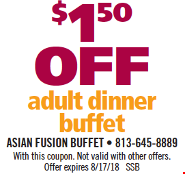 $1.50 Off Adult Dinner Buffet. With this coupon. Not valid with other offers. Offer expires 8/17/18. SSB