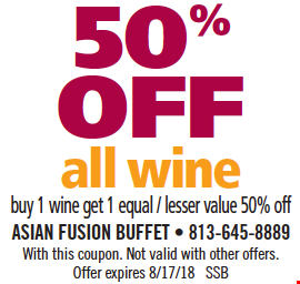 50% Off All Wine. Buy 1 wine, get 1 of equal or lesser value 50% off. With this coupon. Not valid with other offers. Offer expires 8/17/18. SSB