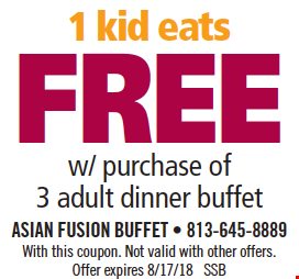 1 Kid Eats Free w/ purchase of 3 adult dinner buffets. With this coupon. Not valid with other offers. Offer expires 8/17/18. SSB