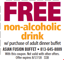 Free Non-Alcoholic Drink w/ purchase of adult dinner buffet. With this coupon. Not valid with other offers. Offer expires 8/17/18. SSB