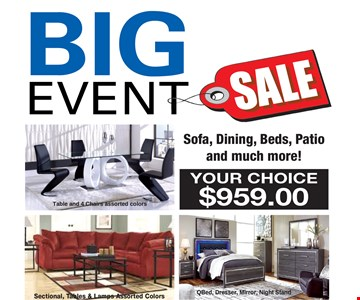 BIG EVENT SALE YOUR CHOICE $959.00