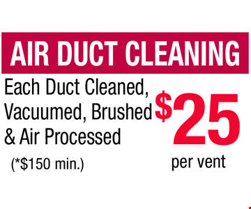 Air Duct Cleaning $25 per vent. Each Duct Cleaned,  Vacuumed, Brushed & Air Processed. (*$150 min.)