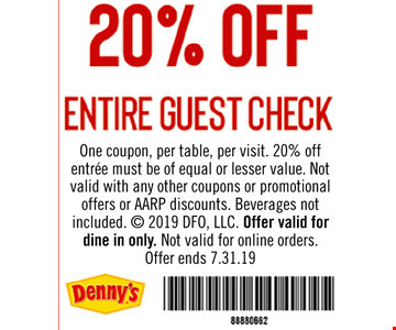 20% OFF ENTIRE GUEST CHECK. One coupon, per table, per visit. 20% off entrée must be of equal or lesser value. Not valid with any other coupons or promotional offers or AARP discounts. Beverages not included. © 2019 DFO, LLC. Offer valid for dine in only. Not valid for online orders.