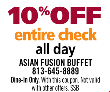10% OFF Entire Check All Day