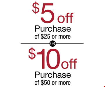 $10 off Purchase of $50 or more . $5 off Purchase of $25 or more. With these coupon. Not valid with other offers, seafood, whole pigs or on meat packages.